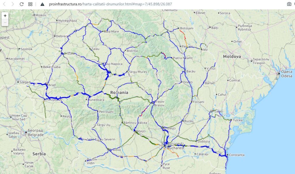 Harta Calității Drumurilor din România – varianta interactivă